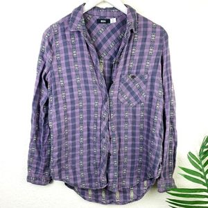 BDG Boho Embroidered Flannel Shirt S